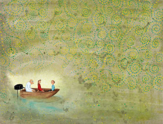 """""""People in a boat in a cave looking at magical lights """""""