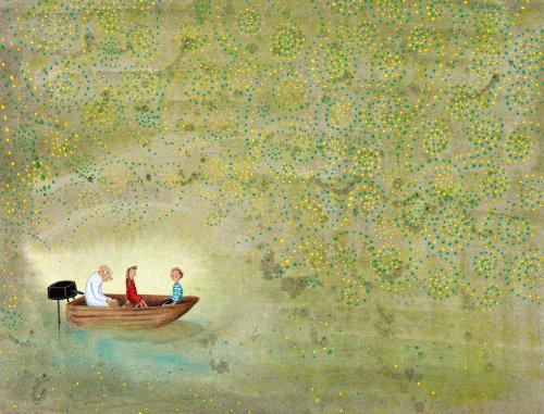 """""""Pessoas em um barco em uma caverna olhando luzes mágicas"""""""