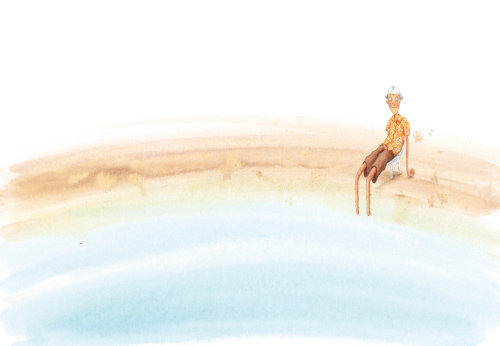 Homem com os pés na água.