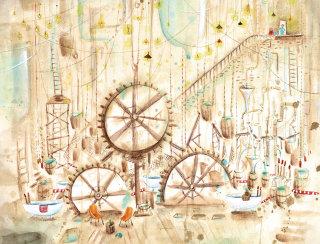 Illustration of messy engine room