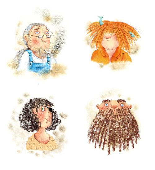 Personagens diferentes de mulher para um livro infantil de Marieke Nelissen