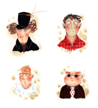 Different characters of man for a children's book by Marieke Nelissen