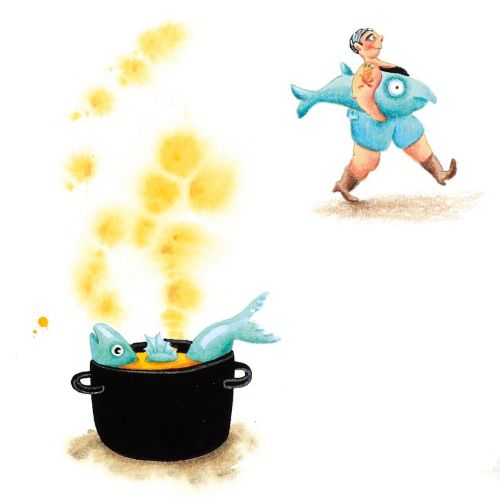 Fish cooking in a pot illustration