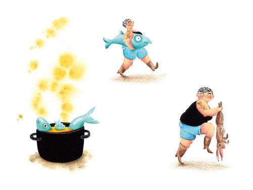 Peixe cozinhando em uma ilustração de panela