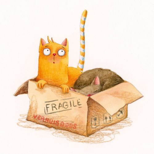 Two cats in a box artwork by Marieke Nelissen