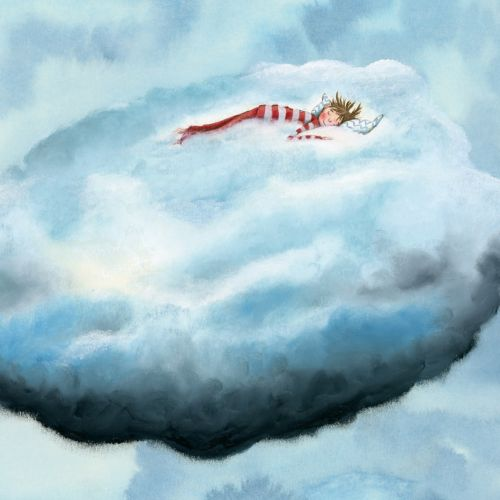Child sleeping on a cloud