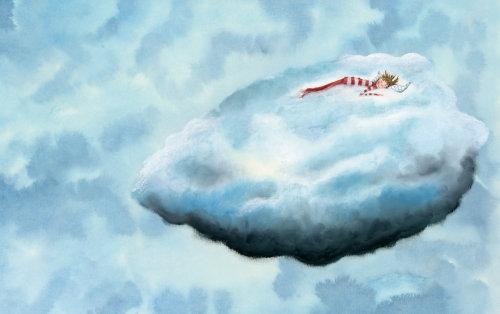 Criança dormindo em uma nuvem