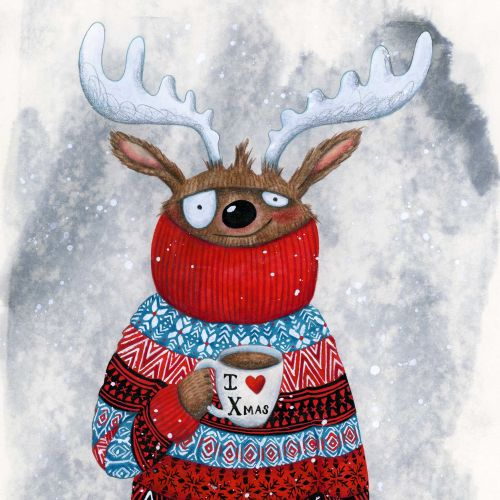 Reindeer drinking hot chocolate.