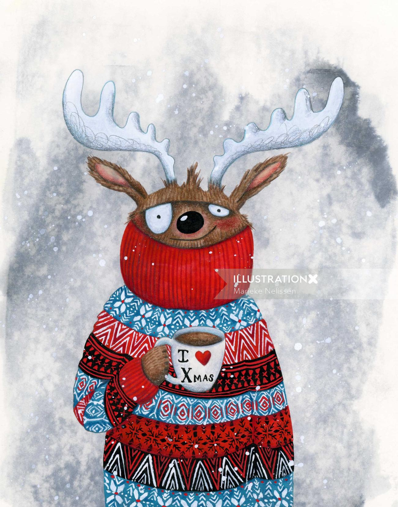 Reindeer drinking hot chocolate.