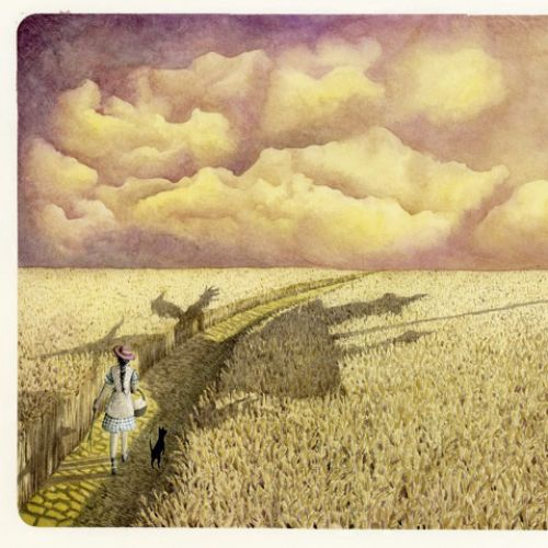 illustration of girl walking on yellow brick road