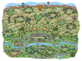 Boise city map Illustration