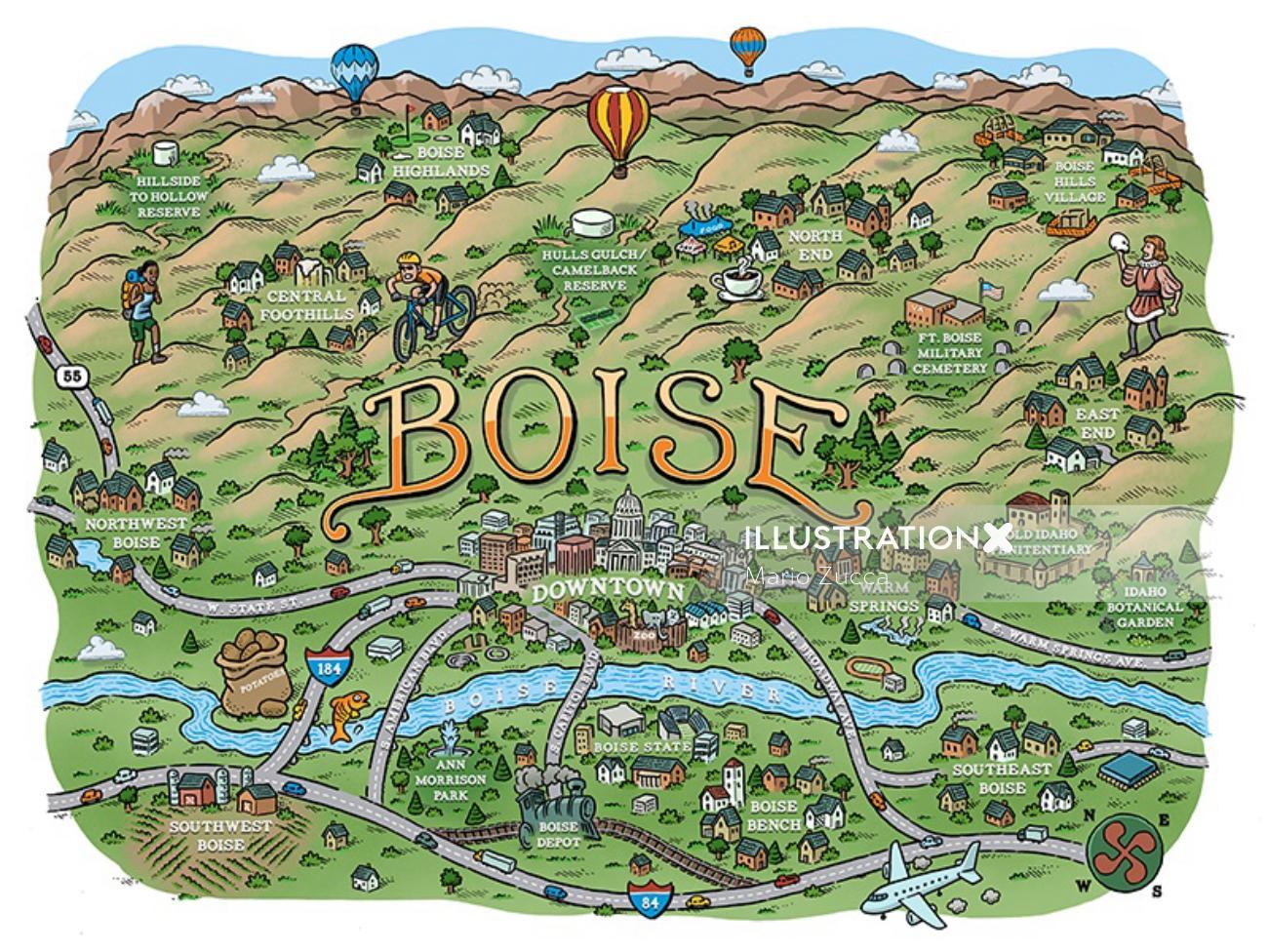 Boise city map Illustration