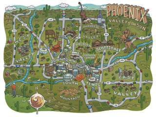 Illustrated Phoenix city map covering roads