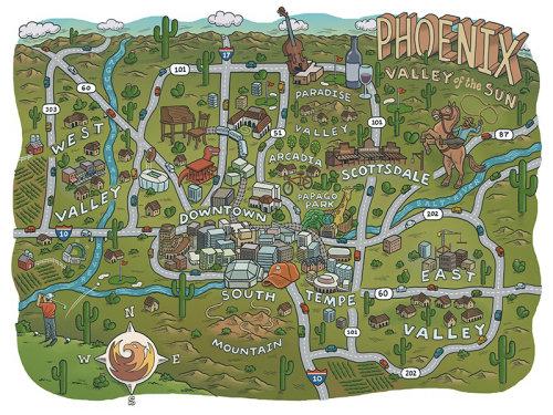 Mapa ilustrado da cidade de Phoenix cobrindo estradas