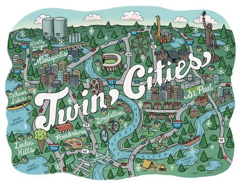 Mapa ilustrado das cidades gêmeas de Minnesota