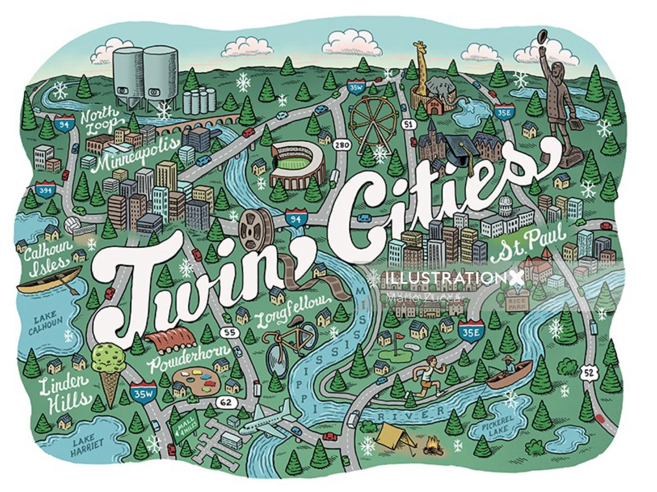Illustrated map of Minnesota twin cities