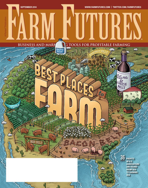 Design de capa de revista de futuros de fazenda