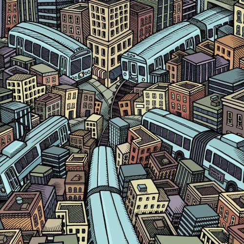 Cityscape illustration by Mario Zucca ilustrator