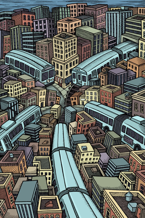 Cityscape illustration by Mario Zucca ilustrator
