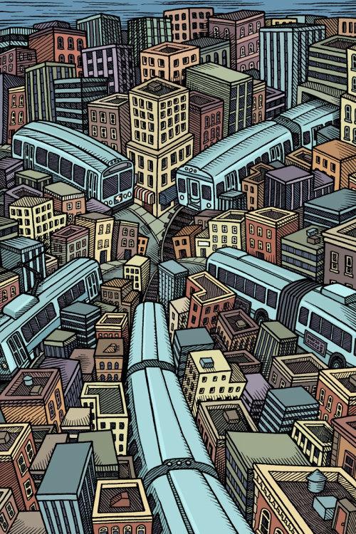 Ilustração da paisagem urbana por Mario Zucca ilustrator