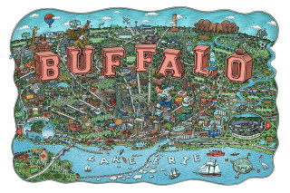 Detailed map illustration of Buffalo city