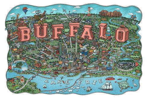 Ilustração detalhada do mapa da cidade de Buffalo