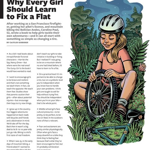 Editorial illustration of fix a flat for Bicycling magazine