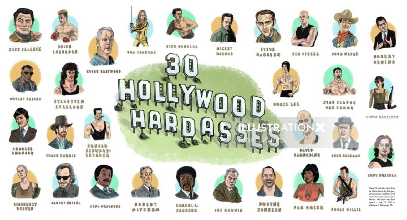 30 Hollywood Hardasses Digital lettering