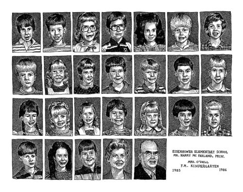 Black and white portrait of Eisenhower school children