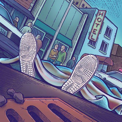 Graphic design of murder in hotel