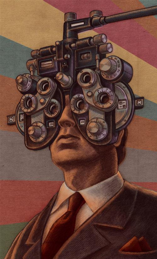 Ilustrações médicas da verificação dos olhos