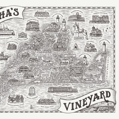 Map illustration of Martha's vineyard