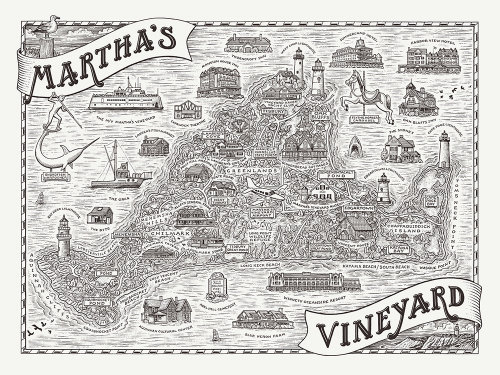 Map illustration of Martha's vineyard