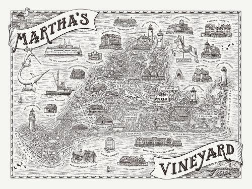 Ilustração do mapa da vinha de Martha