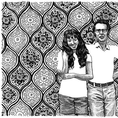 Black and white illustration of couple