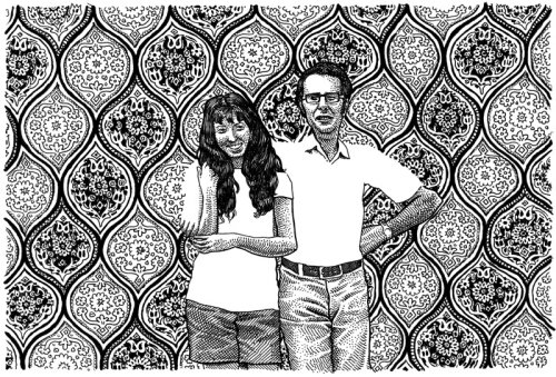 Ilustração a preto e branco do casal