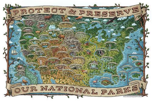 Mapa ilustrado dos parques nacionais dos EUA