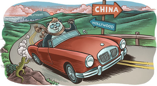 Comic illustration of panda farewell to Hollywood
