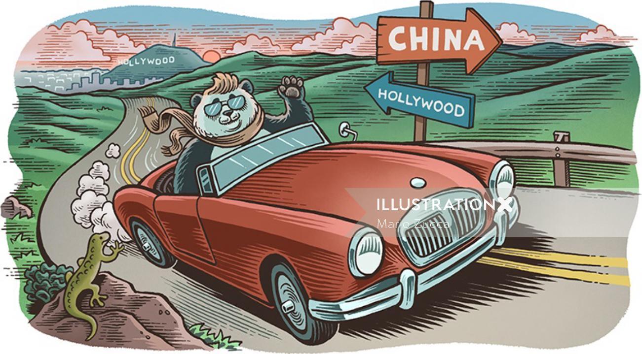 Comic illustration of panda farewell to Hollywood
