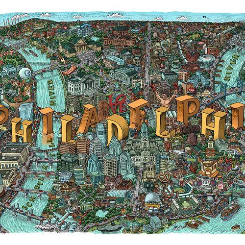 Philadelphia city map illustration by Mario Zucca
