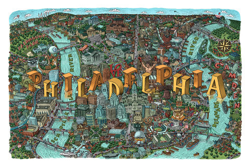 Philadelphia city map illustration by Mario Zucca
