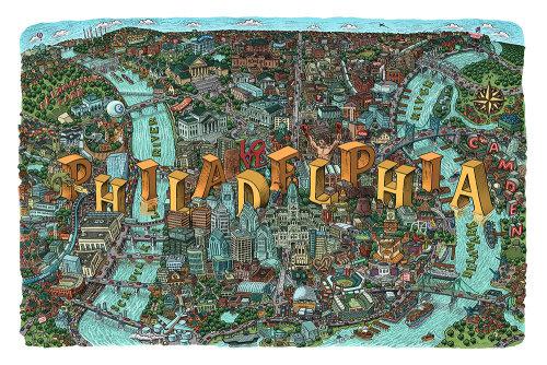 Ilustração do mapa da cidade de Filadélfia por Mario Zucca