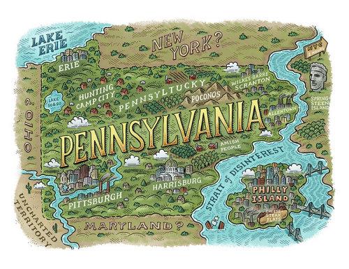 Mapa - Revista da Filadélfia Ilha de Philly