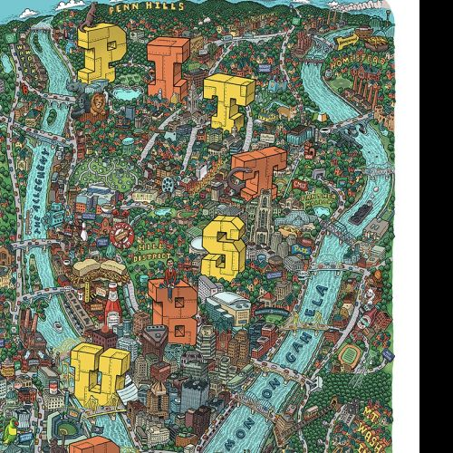Pittsburgh city hand drawn map by Mario zucca