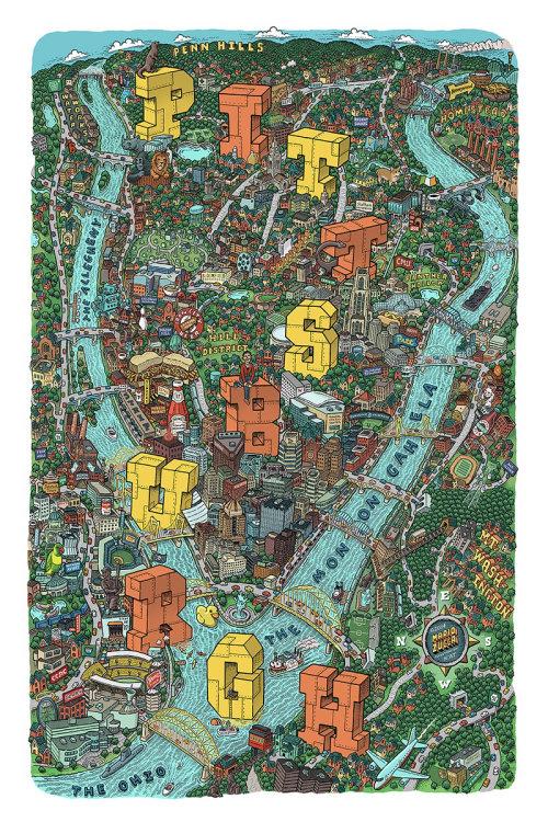 Mapa desenhado à mão de cidade de Pittsburgh por Mario zucca