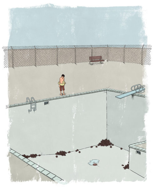 Illustration of diving into empty pool
