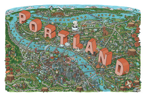 Digital map illustration of Portland city