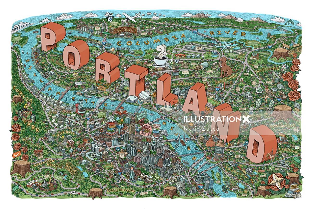 Digital map illustration of Portland city
