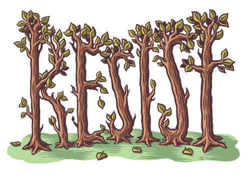 Ilustração de letras de plantas