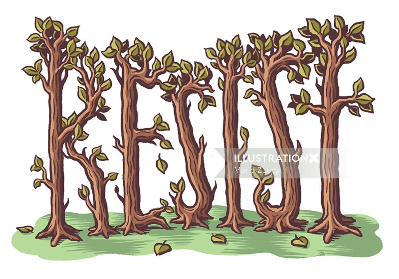 Lettering illustration of plants